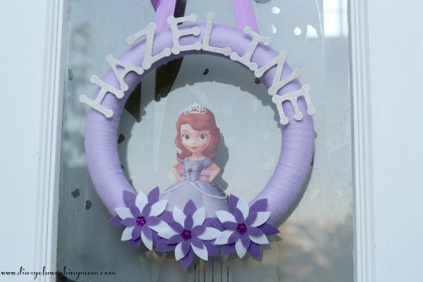 Princess Party Door Decor: Sofia The First Wreath