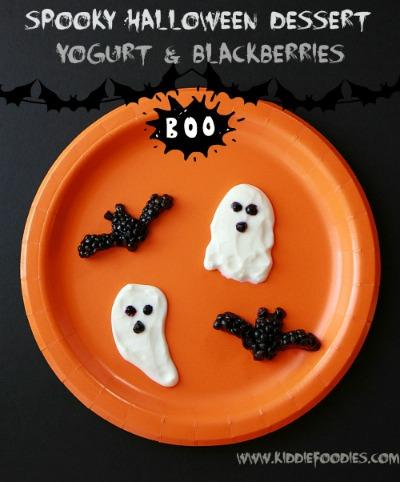 Spooky-Halloween-dessert-ghosts-bats-made-from-yogurt-and-blackberries