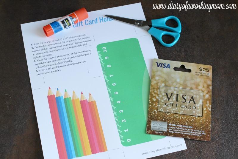 Teacher Gift Card Holder Supplies